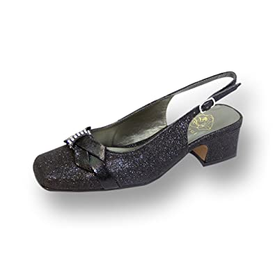 08162166c4ad Floral FIC Teagan Women Extra Wide Width Metallic Glitter Slingback Black 6
