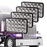 (4 pcs) Rectangle 4x6 inch LED Headlights High Low Beam H4 Plug H4651 H4652 H4656 H4666 H6545 for Peterbil Kenworth Freightinger Ford Probe Chevrolet Oldsmobile Cutlass