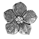 Gypsy Jewels Large Flower Daisy Rhinestone Statement Big Stretch Cocktail Ring (Textured Lines Silver Tone)