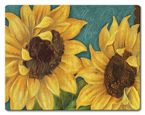 Rest Spoon Sunflower - Sunshiny Day Bold Yellow Sunflowers Glass 10 Inch Kitchen or Bar Cutting Board