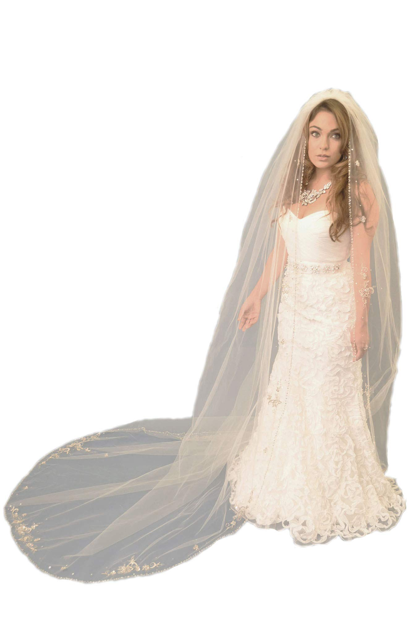 Passat Ivory 2M Chapel Veil with Metallic Stitched Edge and Floral Embroidery Design with Pearls Rhinestones VL-1015