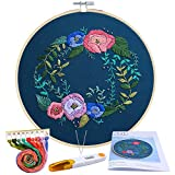 #1: Caydo Rose Garden Embroidery Starter Kit Cross Stitch Kit Including Embroidery Cloth with Printed Pattern for Beginner