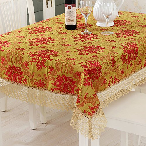 Thai Embroidery Wedding Wedding Embroidery Coffee Cloth,Festive Red Fabric Table Cloth,Marriage With Lace Towel-A 150x210cm(59x83inch) by QI Tablecloths