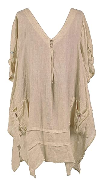 LADIES V NECK ITALIAN QUIRKY LAGENLOOK PLUS SIZE FLORAL LINEN POCKET TUNIC TOP