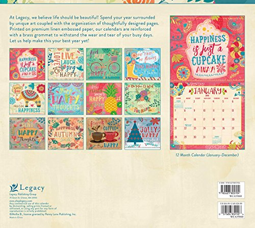 Legacy Publishing Group 2018 12-Month Wall Calendar, Do Good, Think Happy Thoughts Photo #3