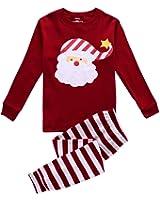 Christmas Stripes Matching Pajamas Sets Santa Claus Sleepwear for Kids Pant +Top 2 Piece