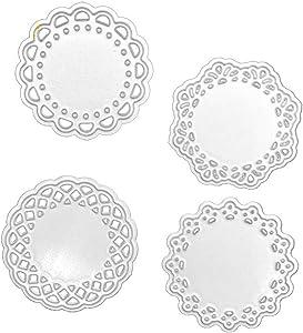 Flowers Dies Cut, Metal Cutting Dies Stencils Four Pieces Circle Flowers for DIY Scrapbooking Photo Album Decorative Embossing DIY Paper Cards Craft