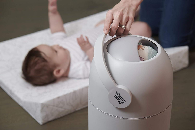 color gris Vital Baby HYGIENE sin olor con capacidad para hasta 25 pa/ñales Sistema de eliminaci/ón de olores para pa/ñales apto para pa/ñales desechables y reutilizables sin rellenos