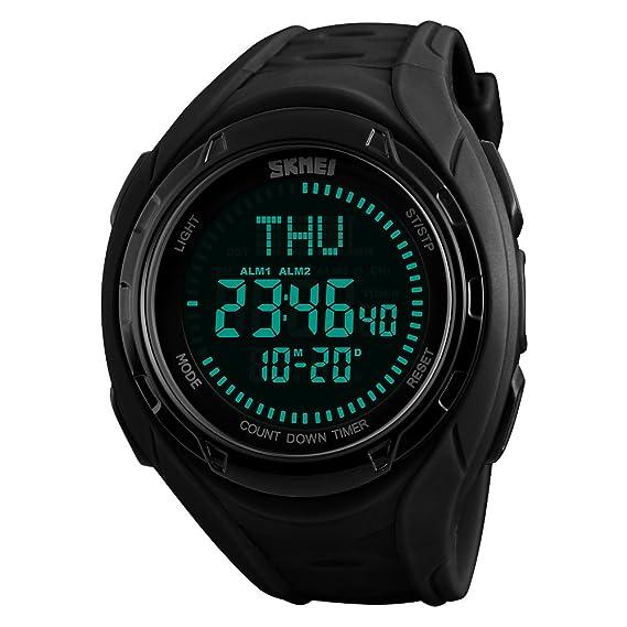 Relojes deportivos multifuncionales de la brújula del tiempo mundial, Relojes digitales impermeables impermeables de los