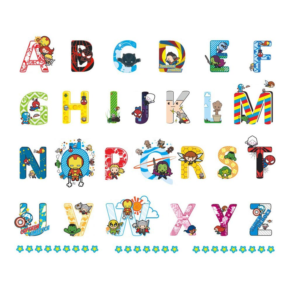 ufengke Alphabet ABC and Superheroes Wall Stickers Stars Letters Wall Decals Wall Decor for Kids Bedroom Nursery
