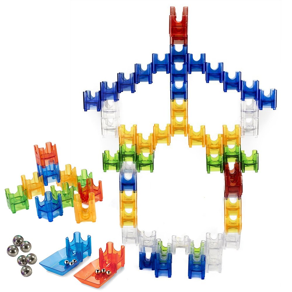 VT BigHome Marble Run Set 68pcs Marbulous Construction Building Block Toy Race Coaster Maze Toys for Kids Birthday Gift