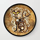 Society6 Steampunk Cat Vintage Style Wall Clock Black Frame, Black Hands