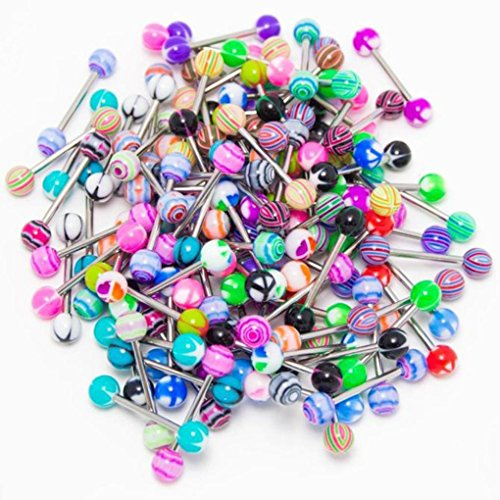 Sacow Tongue Ring Bar Stud, 50 pc Assorted Colors Stainless Steel Ball Tongue Rings Barbells Body Piercing Nipple Jewelry