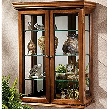 Country Tuscan Wall Mounted Curio Cabinet Glass Display Shelves Lighted  Case Corner Oak Furniture Doors
