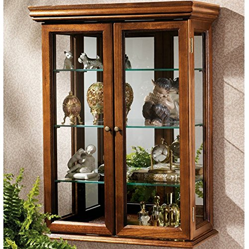 Country Tuscan Wall-Mounted Curio Cabinet Glass Display Shelves Lighted Case Corner Oak Furniture Doors Wood Storage Coaster Mirrored Door (Wall Mount Curio Cabinets)
