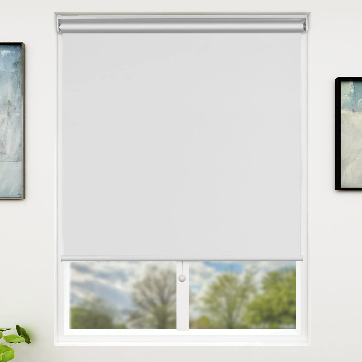 SUNFREE Blackout Window Shades Cordless Window Blinds with Spring Lifting System for Home & Office, 36 x 72 Inch, White