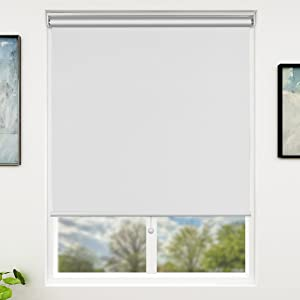 SUNFREE Blackout Window Shades Cordless Window Blinds with Spring Lifting System for Home & Office, 27 x 72 Inch, White