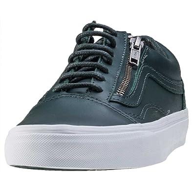 a8d6706f606 Vans Womens Gunmetal Green True White Old Skool Zip Trainers-UK 7