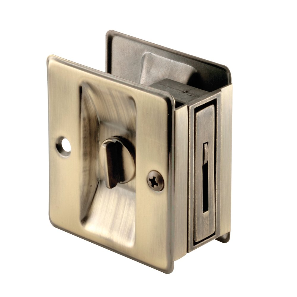 Slide-Co 163142 Pocket Door ivacy Lock with Pull, Antique Brass