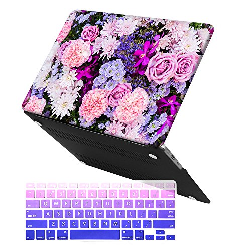 MacBook Air 13 Inch Case, iCasso Rubber Coated Soft Touch Hard Shell with Keyboard Cover,Only Compatible MacBook Air 13 Inch (Model A1369/A1466),Not Fit 2018 Version Model A1932, (Purple Flower)
