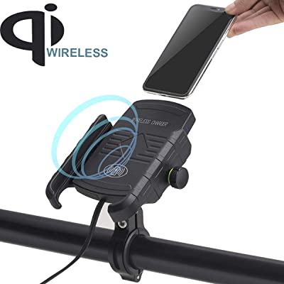 iMESTOU Motorcycle Phone Mount Wireless Charger, Waterproof Motorbike Handlebar Phone Holder 360 rotatable Compatible with iPhone Samsung Huawei etc.: Automotive