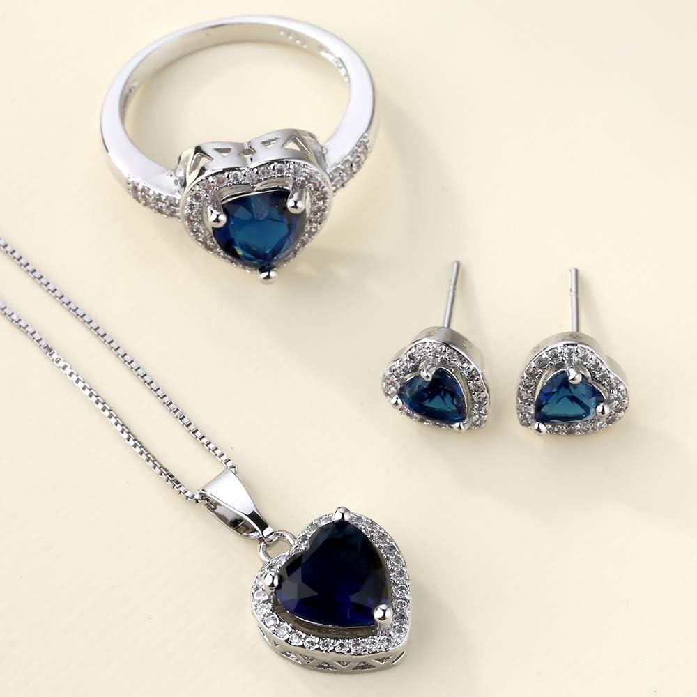 VPbao Chic Women Set Necklace Earrings Ring Love Shape CZ Jewellery Sets Royal Blue