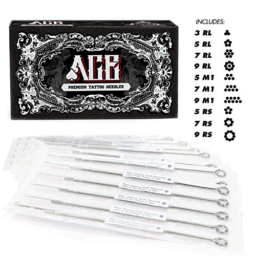 ACE Needles 50 Mixed Assorted Tattoo Needles 10 Sizes - Round Liner Shader Magnum (Tattoo Round Shader Needles)