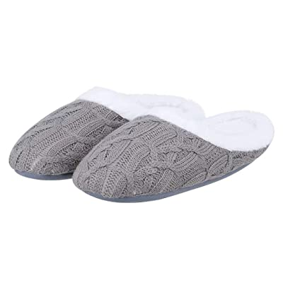ZriEy Women's Cozy Memory Foam Slippers Fuzzy Plush Comfortable House Shoes Indoor Outdoor Anti-Skid Rubber Sole Flats | Slippers