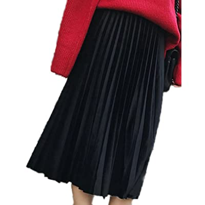 ARTFFEL-Women Vintage Plus Size Ruched Pure Color Elastic Waist Midi Skirt