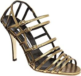 Manolo Blahnik Bronze Amacha Strappy Sandals