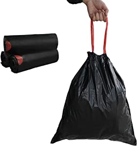 Begale 5 Gallon Drawstring Trash Bags, Black (115 Counts/3 Rolls)