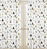 Nature Fox Bear Animals Boys Window Treatment Panels for Outdoor Adventure Panels - Set of 2