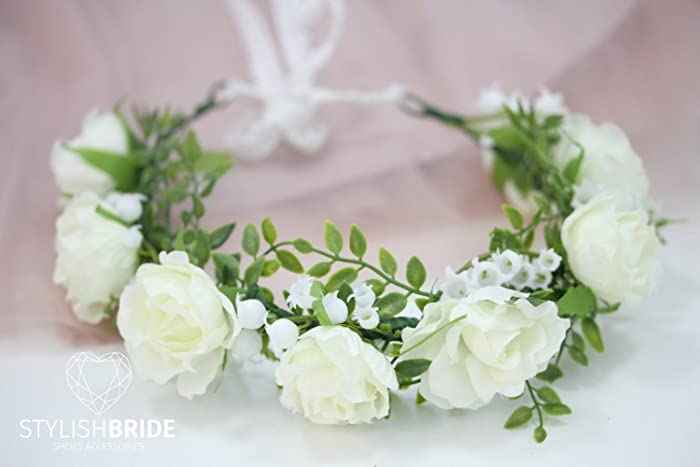 Amazon.com  Wedding Flower Crown With Big White Roses and Lily of the  Valley 905b34d7057