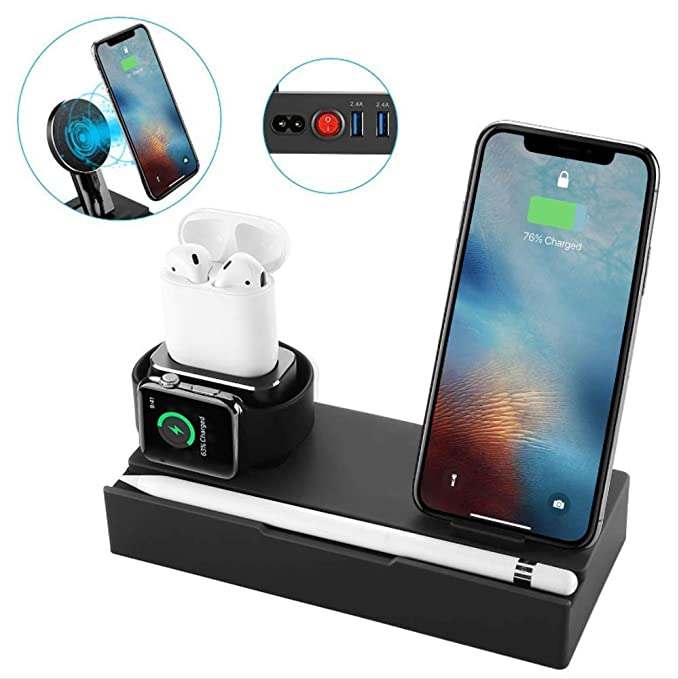 new arrival dfe16 94887 [8 in 1] Upgrade Aluminum Charging Dock Stand,iCozzier Tablet Cell Phone  Wireless Stand with 2 Ports USB Charger, Organizer Station for Apple ...