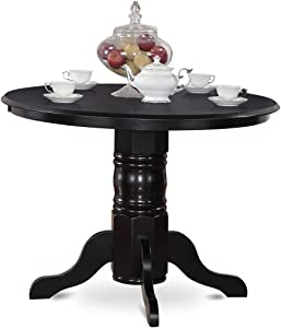 "SHT-BLK-TP Round Kitchen Table 42"" Diameter in Black"