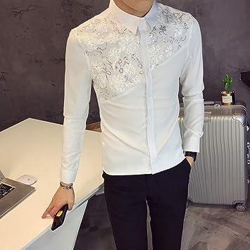 MKDLJY Camisas Camisa de Encaje para Hombre Diseñador Boda Camisas de Manga Larga Moda para Hombre Camisas de Esmoquin Club Social Club de Fiesta Camisas de Vestir Blancas y Negras: Amazon.es: Deportes