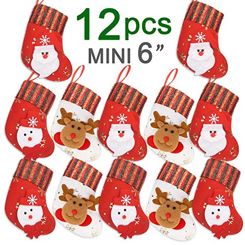 "Ivenf 12 Count 6"" 3D Mini Christmas Stockings, Santa Snowman Gift Card Cutlery Bags Silverware Holders, Bulk Treats for Neighbors Coworkers Kids Cats Dogs, Small Felt Red Xmas Tree Decorations Set"