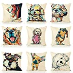 "Redland Art Cute Pet Border Collie Dog Pattern Cotton Linen Throw Pillow Covers Car Sofa Cushion Cases Home Decor Square 18""X18"" Inch 9"
