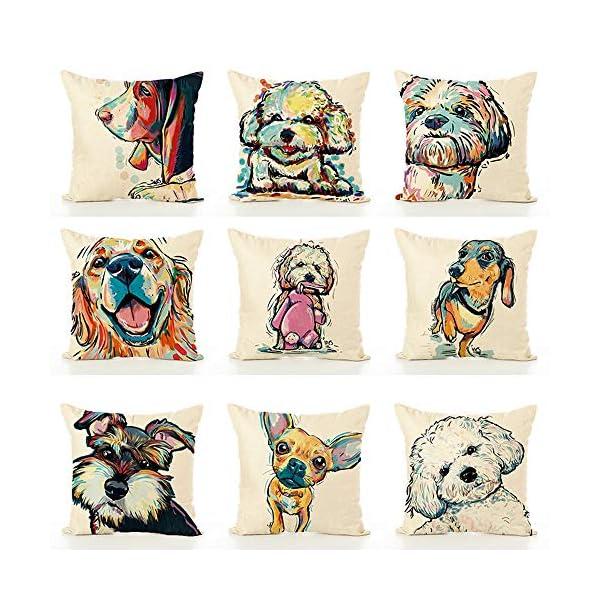 "Redland Art Cute Pet Border Collie Dog Pattern Cotton Linen Throw Pillow Covers Car Sofa Cushion Cases Home Decor Square 18""X18"" Inch 4"