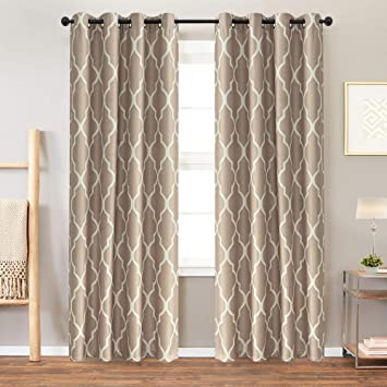 Moroccan Tile Curtains for Living Room Curtains Bedroom Kitchen Linen  Textured Thermal Insulated Window Drapes Grommet Top on Flax 2 Panels 84  inches ...