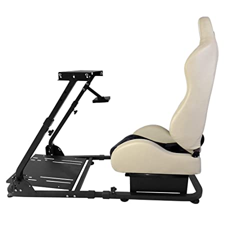 Racing Simulator Lenkrad Ständer Kompatibel Logitech G29 Thrustmaster W/Einstellbare Grau PVC-Leder Racing Sitz