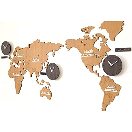 Hhys creative home decoration world map large wall clock simple diy hhys creative home decoration world map large wall clock simple diy personalized art wooden 3 country gumiabroncs Images