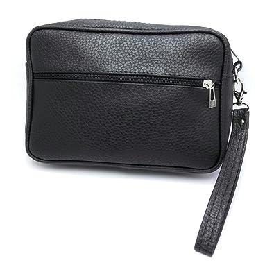ef9767a8b0060 MYB Pochette nera in similpelle con cinturino da polso - per uomo e donna