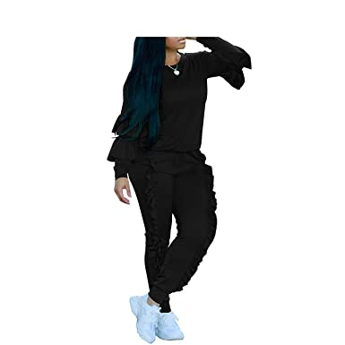 d318dbf37b7 Amazon.com  nboba jumpsuits Ruffles O Neck Winter for Women Party Jumpsuits  Outfits  Clothing