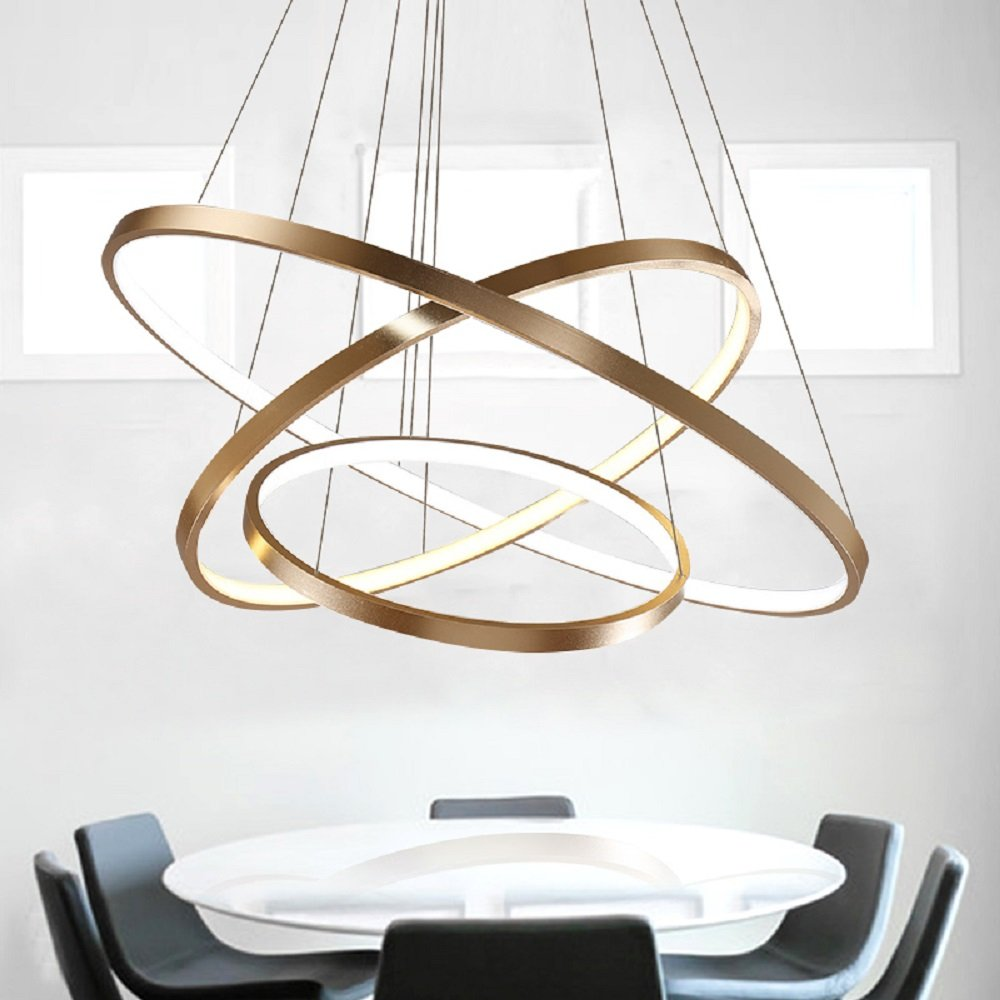 Led Chandelier Ceiling Lighting Modern Circular Pendant Light Personalized Creative Three Rings Fixtures Gold 100w Integrated Source