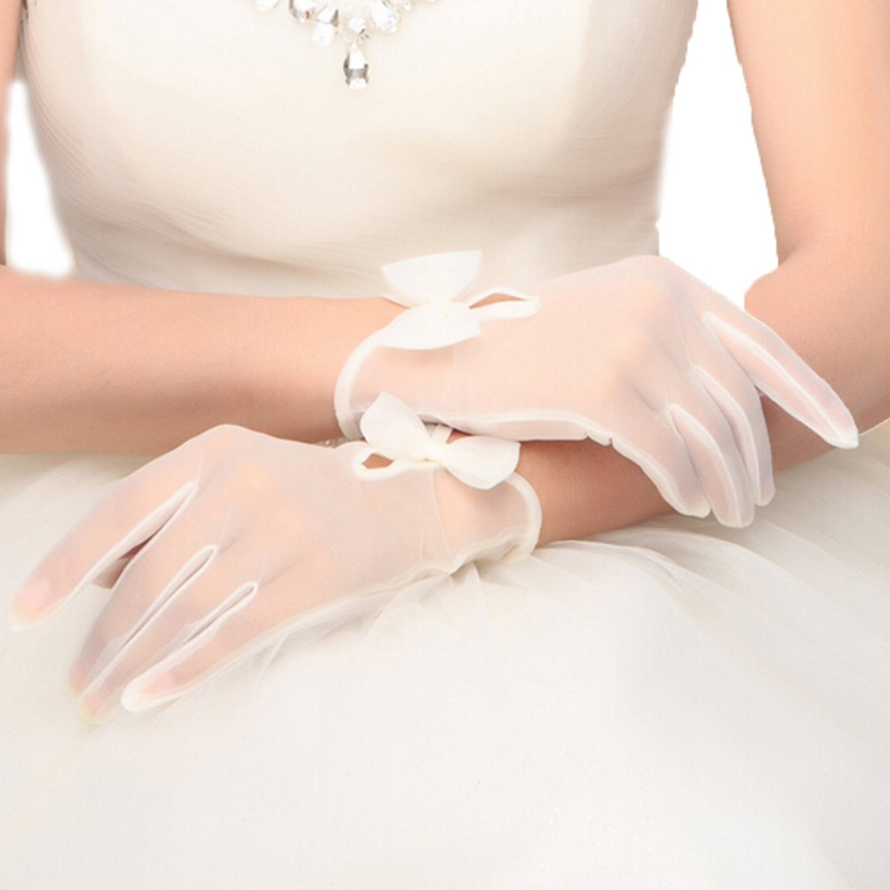 Vivivalue Women Bride Tulle Bridal Short Gloves Wrist Lace Floral Bowknot Wedding Party Prom White