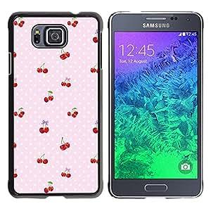 FlareStar Colour Printing Cherry Polka Dot Berries Pink Pattern cáscara Funda Case Caso de plástico para Samsung GALAXY ALPHA G850