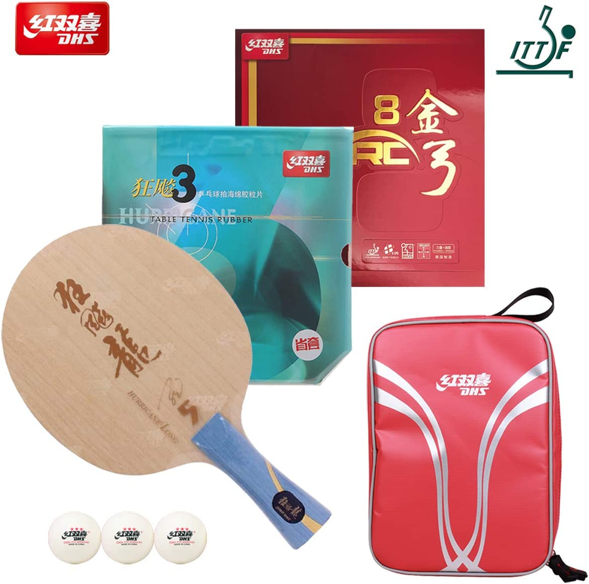 DHS Hand Assembled Professional Table Tennis Racket - Professional Ping Pong Racket Combination Hurricane Long-5 Table Tennis Blade Neo Hurricane 3 (Provincial) Gold ARC 8 Rubber
