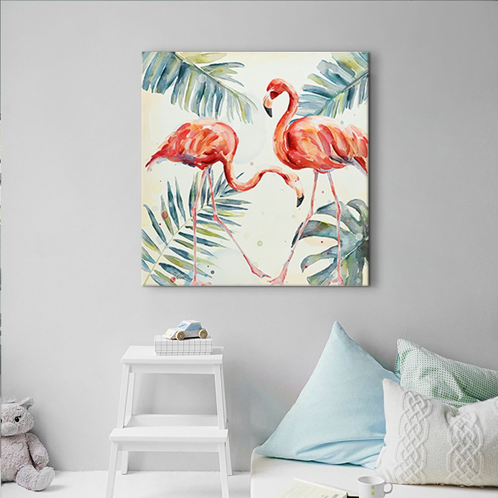 32 x 32 inch, A Framed Crescent Art Framed Watercolor Tropical Wildlife Animal Pink Flamingo Bird Painting on Canvas Print Picture Wall Art for Living Room Wall Decoration Home Accent