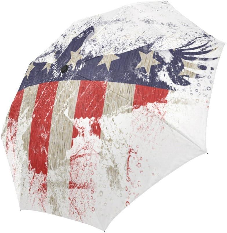 Bald Eagle with American Flag Windproof Rainproof Automatic Foldable Umbrella,Travel Umbrella Compact Sun//Rain Hot-selling